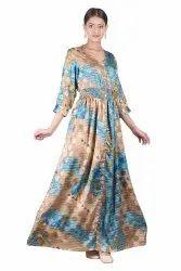 Vintage Silk Sari Fabric Made Long Dress, Sexy Beach Women Dress, Handmade Boho/Prairie Style Dress