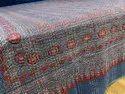 Ajrakh Printed Cotton Kantha Bedcover.