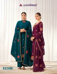 Aashirwad Creation Rashmi Tussar Silk With Embroidery Work Designer Suit Catalog