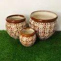 Red Ganda Set Ceramic Planters Pot For Decoration