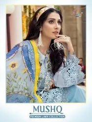Shree Fab Mushq Premium Lawn Collection Embroidered Pakistani Suit Catalog