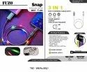 3 in 1 Fast Charging Cable With Sound Sensor Charge SYNC & Data Transfer