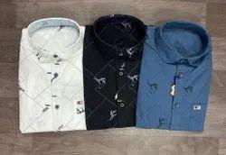 Collar Neck Men Printed Cotton Shirt, Machine wash