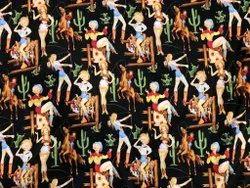 1980 Funky Girls Print Linen Cotton Digital Printed Fabrics, 70-100, Multicolour
