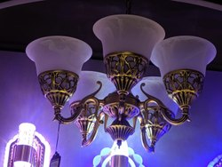 Candle-Style Brass Ceiling Hanging LED Chandelier