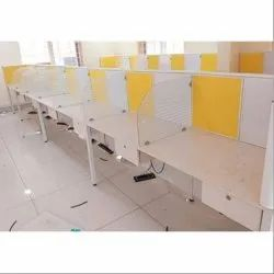 White, Yellow Fibre-Reinforced Plastic (FRP) Linear Office Workstation
