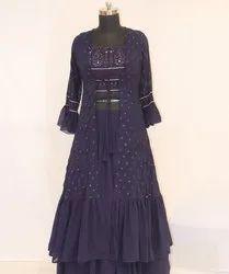 Georgette Stitched Ladies Royal Blue Wedding Gown