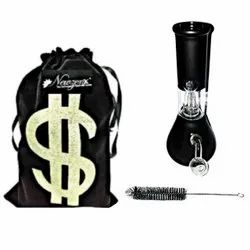 Newzenx Oil Crystal Bong 8 Inch Single Perc Frosted Black Bong With Velvet Pouch And Pipe Cleaner