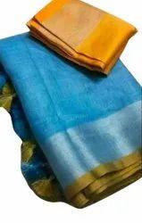 Party Wear Plain Ladies Banarasi Silk Saree, 5.5 m (separate blouse piece)