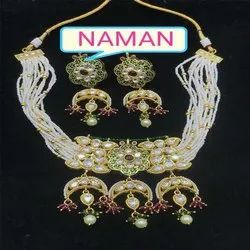 Kundan Necklace And Earring Jewellery Set For Women And Girl Bijoux