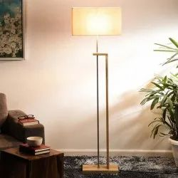 Metal Base Wooden Looking Finish With Lamp