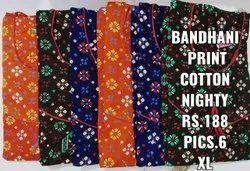 Cotton Bandhani Nighty