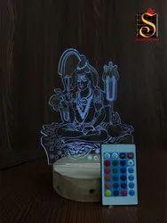 SHAYONA Load Shiv Multi Color 3D Illusion LED Acrylic Table top Night Lamp