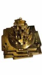 Golden Copper Meru Shree Yantra, Size: 4x4 Inch