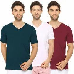 Half Sleeve Men V-Neck T-Shirts, Size: S-XL