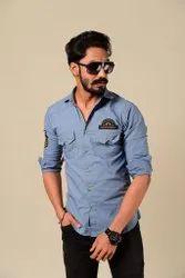 Rajanyas Cotton Heather Blue Stud Look Premium Rajputana Shirt, Size: Large