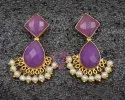 Lavender Chalcedony Gold Plated Stud Earring