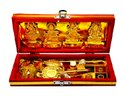 Golden Brass Shri Laxmi Kuber Dhan Varsha Yantra, Size: 35cm