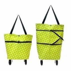 2 wheel Natural Shopping Trolley Carry Bag Foldable Cart With Wheels, Load Capacity: 0-50 kg, Capacity: 10000
