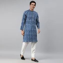 Janasya Men's Blue Cotton Kurta(MEN5012)