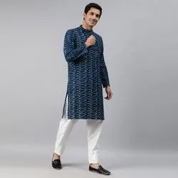Janasya Men's Blue Cotton Flex Kurta ( Men5025)