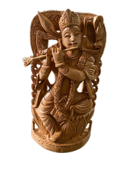 Krishna  Ji Wooden Murti 8 Inch