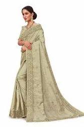 Cut Work Silk Saree