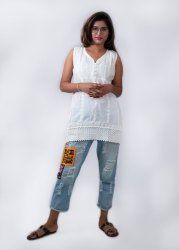 cotton chikan short sleevless top