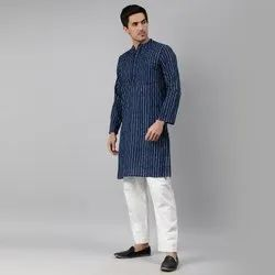 Janasya Men's Blue Cotton Kurta( Men5023)