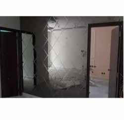 Saint gobain Square With Bevelling Mirror Finishing Wooden Wall Paneling, For Residential