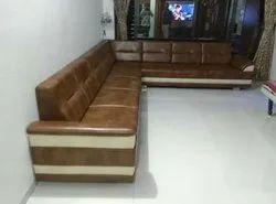 Om Enterprises SS (Frame) Leather Sofa Set, For Home