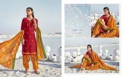 Cotton Stitched Ladies Patiala Salwar Kameez, Machine wash
