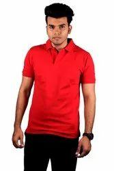 Half Sleeve Plain Men Red Cotton Polo T Shirt