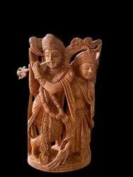 Radha Krishna Wooden Murti 8 inch