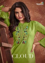 Vardan Designer Cloud Cotton With Embroidery Work Kurti Catalog
