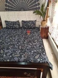 Jaipuri Print Glace Cotton Queen Size Bed Sheet With Two Pillow Cases