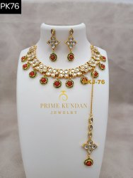 Brass Multicolor PKJ-76 Antique Necklace Set, Box, Occasion: Wedding