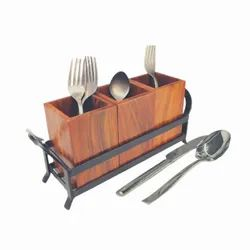 Medieval Edge Traditional Wooden Jar Cutlery Holder for Kitchen and Dining with Iron Stand, Size: 25 cm