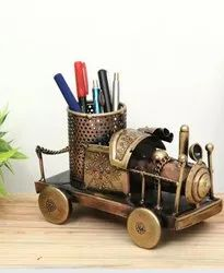 Golden Iron Train Engine Pen Stand, For Decoration