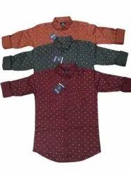Collar Neck Mens Fancy Full Sleeves Printed Cotton Shirt, Handwash