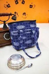 蓝色棉布午餐袋,尺寸/尺寸:尺寸9 * 4 * 10英寸