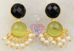 Black Onyx Green Monalisa Gemstone Stud Earring