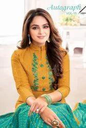 Slub Lining With Wmbroidery Work Salwar Suit-12 Pcs