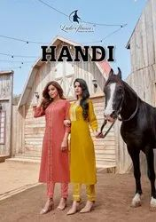 Ladies Flavour Handi Heavy Cotton With Embroidery Work Long Kurti With Bottom Catalog