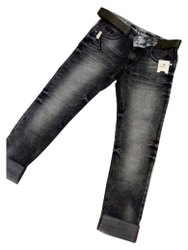Faded Comfort Fit Men Black Denim Jeans, Waist Size: 30