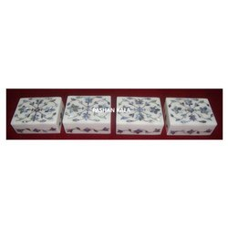 Beautiful Marble With Natural Blue Mother Of Pearl Stone Leaf Design Jewelry Box