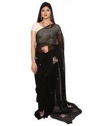 Black Pure Chiffon Saree