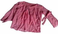 Casual Wear 3/4Th Sleeves Girls Pink Georgette Tops, Size: Medium