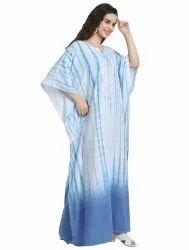 Women Lounge Wear Long Ankle Length Printed Tie Dye Cotton Kaftan