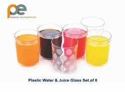 Parth Enterprise Transparent Plastic Water And Juice Glass Set, Capacity: 250ml
